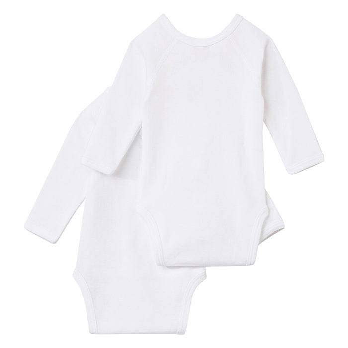Two white long sleeved jersey bodysuits with wrap front.