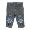 Stella McCartney Baby Pants With Rocket Patches Grey Denim