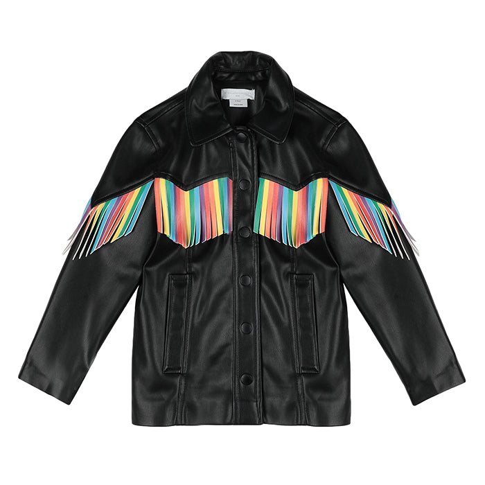 Stella McCartney Child Vegan Leather Jacket With Rainbow Fringe Black