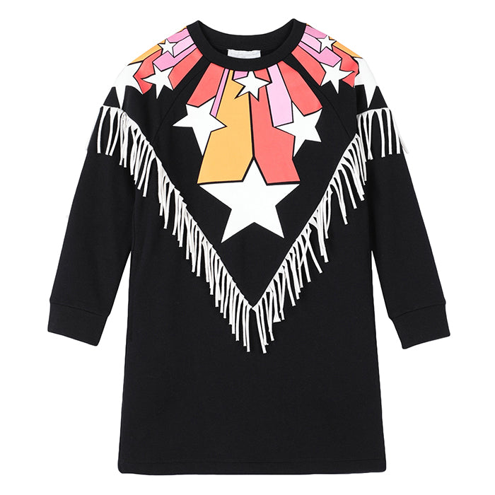Stella McCartney Child Sweatshirt Dress With Stars Print And Fringe Black