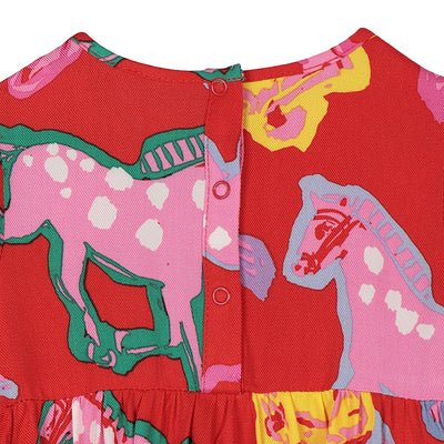 Stella McCartney Baby Dress With All Over Horses Print Red