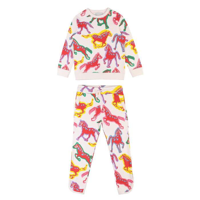 Stella McCartney Child Sweatsuit With All Over Horses Print Cream