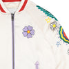 Stella McCartney Child Satin Bomber Jacket White With Flower Embroidery