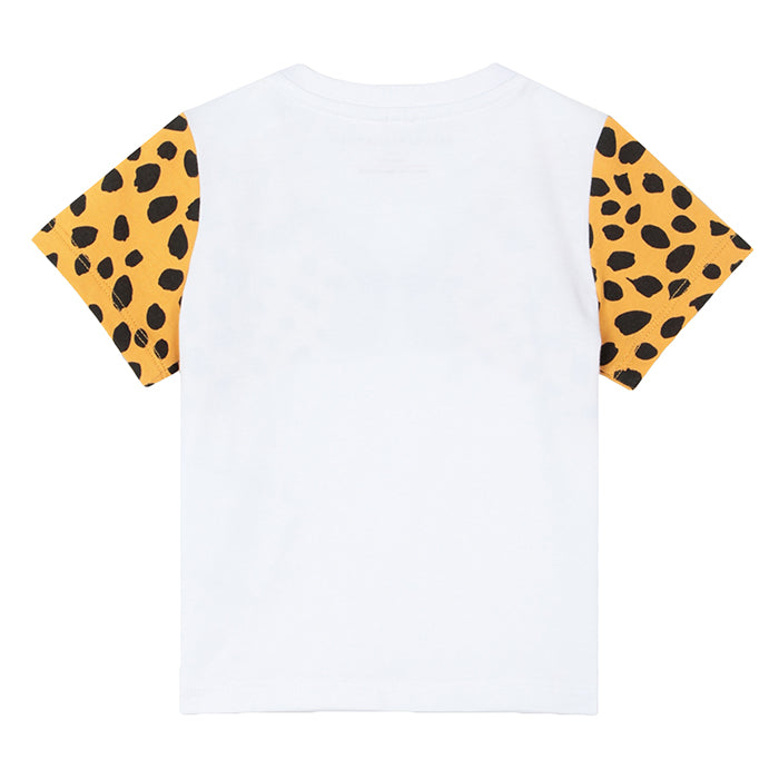 White short sleeved t-shirt with a cheetah face print on the chest.