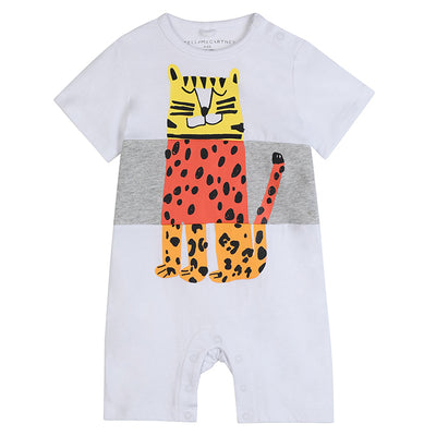 White short sleeved jersey jumpsuit with a grey stripe through the middle and yellow and orange cheetah print on the front.