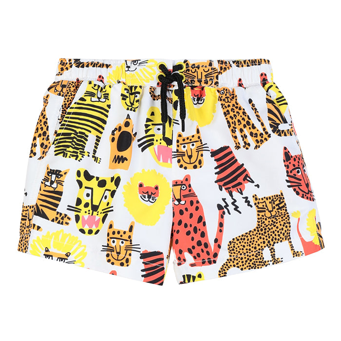 Swim shorts in white with a yellow and orange cheetah, tiger, and leopard print.