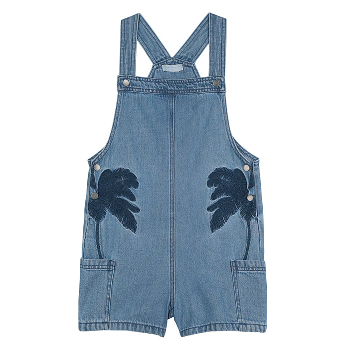 Stella McCartney Child Overalls With Embroidered Palm Trees Denim Blue
