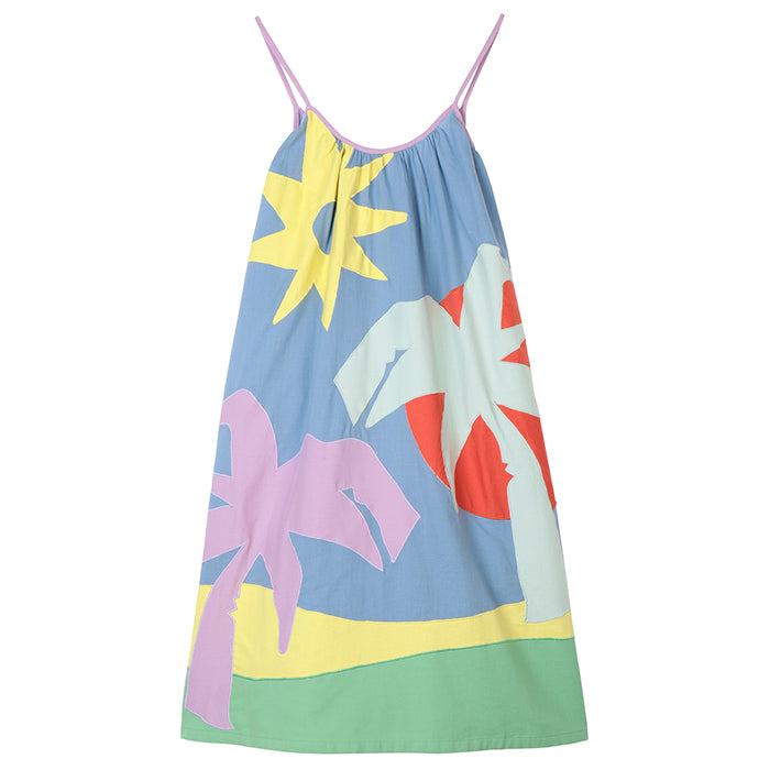 Stella McCartney Child Dress With Patchwork Palm Tree Multicolour