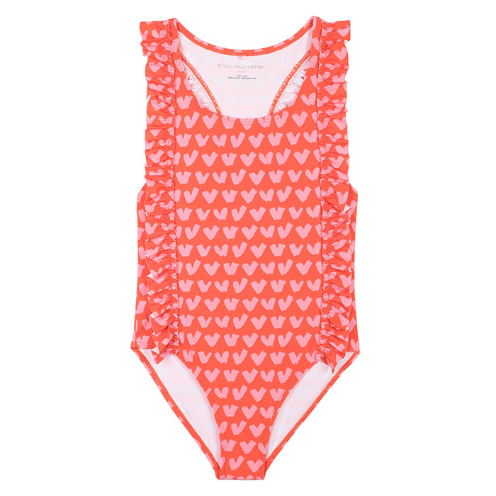 Stella McCartney Child Swimsuit With All Over Heart Print Red