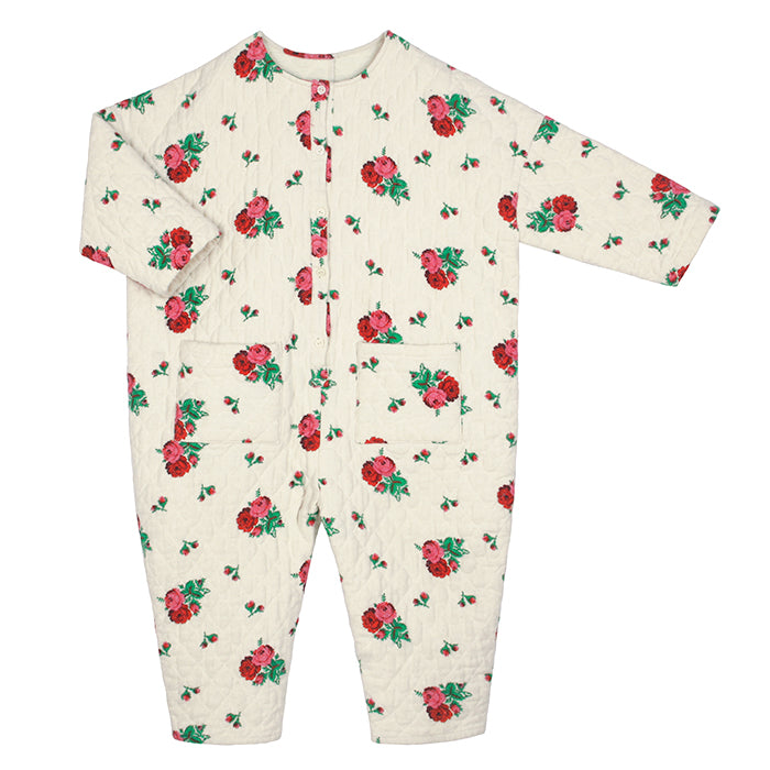 Tambere Child Jura Quilted Jumpsuit Cream With Floral Print