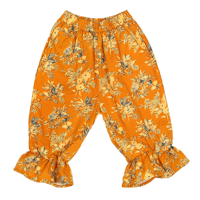 Tambere Child Chur Ruffled Pants Yellow With Floral Print