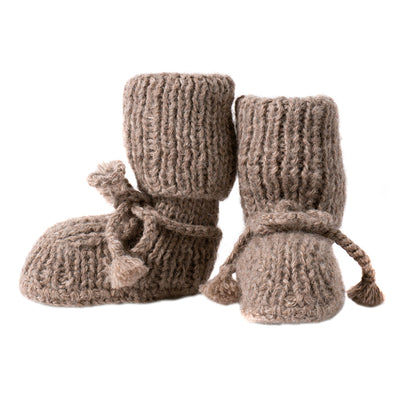Tane Organics Alpaca Sock Booties with Ties Chestnut Brown
