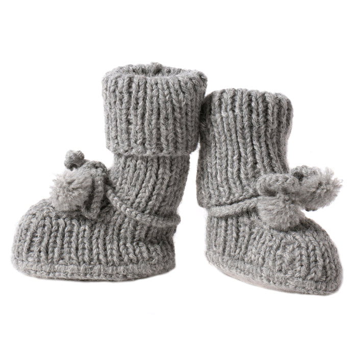 Tane Organics Alpaca Sock Booties with Ties Frost Grey