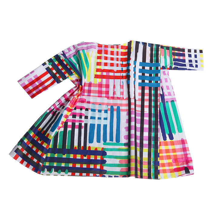 Tia Cibani Kids Child Box Fit Dress Maasai Madras Print Multicolour