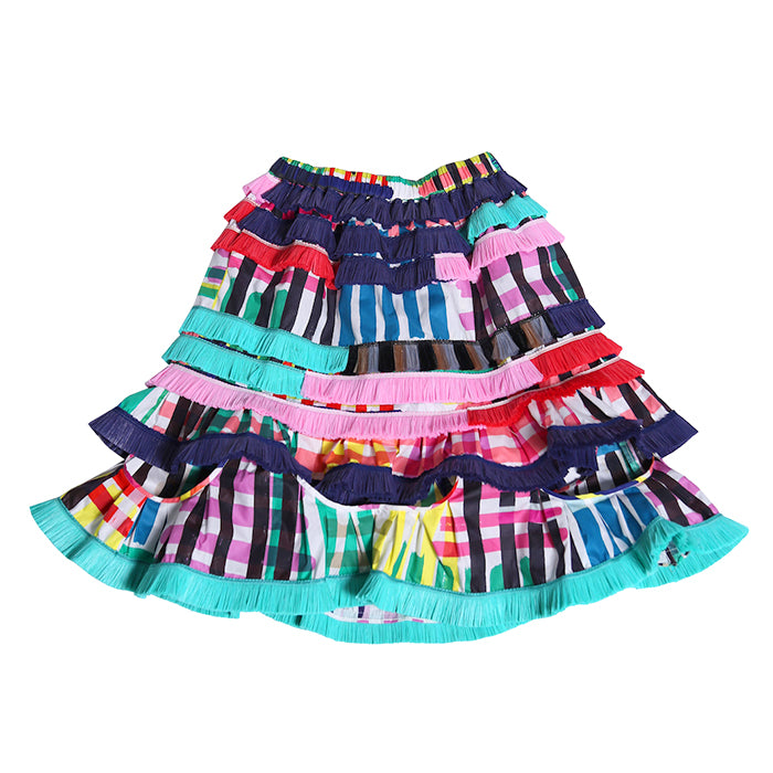 Tia Cibani Kids Child Abeba Ruffled Skirt Maasai Madras Print Multicolour