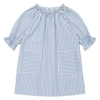 Short sleeved dress with an elasticized neckline and patch pockets on the front in blue and white stripes.