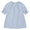 Short sleeved dress with an elasticized neckline and patch pockets on the front in blue and white stripes from the back.