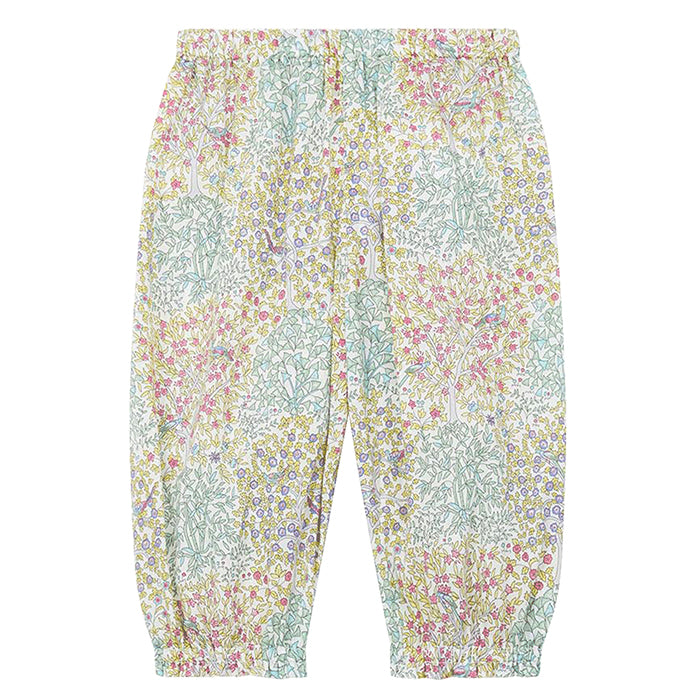 Pull on pants in all over blue and green floral print.