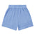Pull on shorts in a blue gauze cotton fabric.