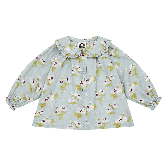 Bonton Baby Bambi Blouse Blue With Painted Floral Print