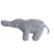 Simple elephant shaped soft rattle in a grey terrycloth fabric.
