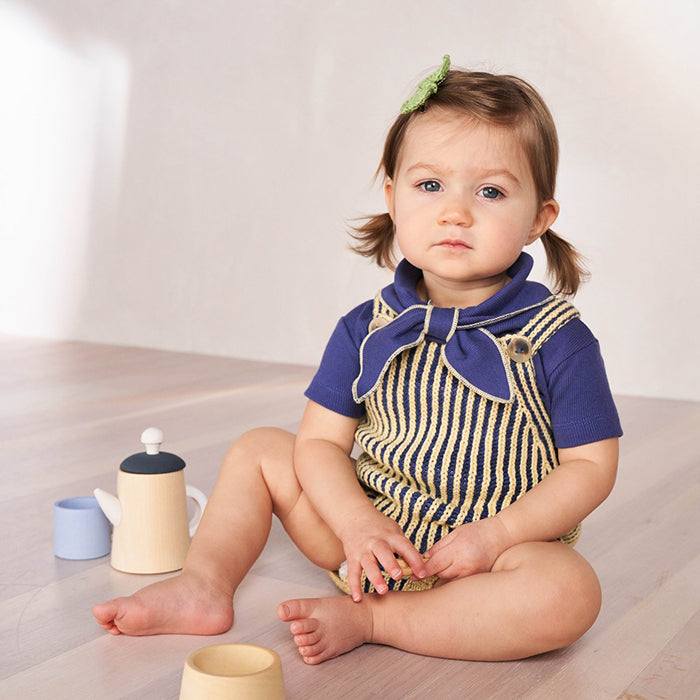 Misha & Puff Baby Plum Island Romper Blue Violet And Yellow Stripes