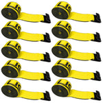 4 inch x 30 foot Yellow Winch Straps w Flat Hook Box of 10 image 1 of 7