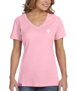 Ladies V-Neck - Charity Pink