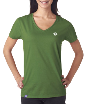 Ladies V-Neck - Green Apple