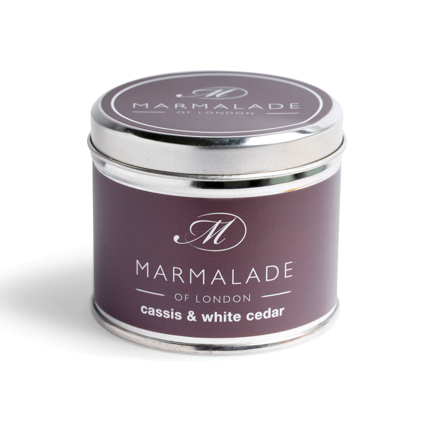 Marmalade Fine Fragrance Cassis & White Cedar Medium Tin Candle