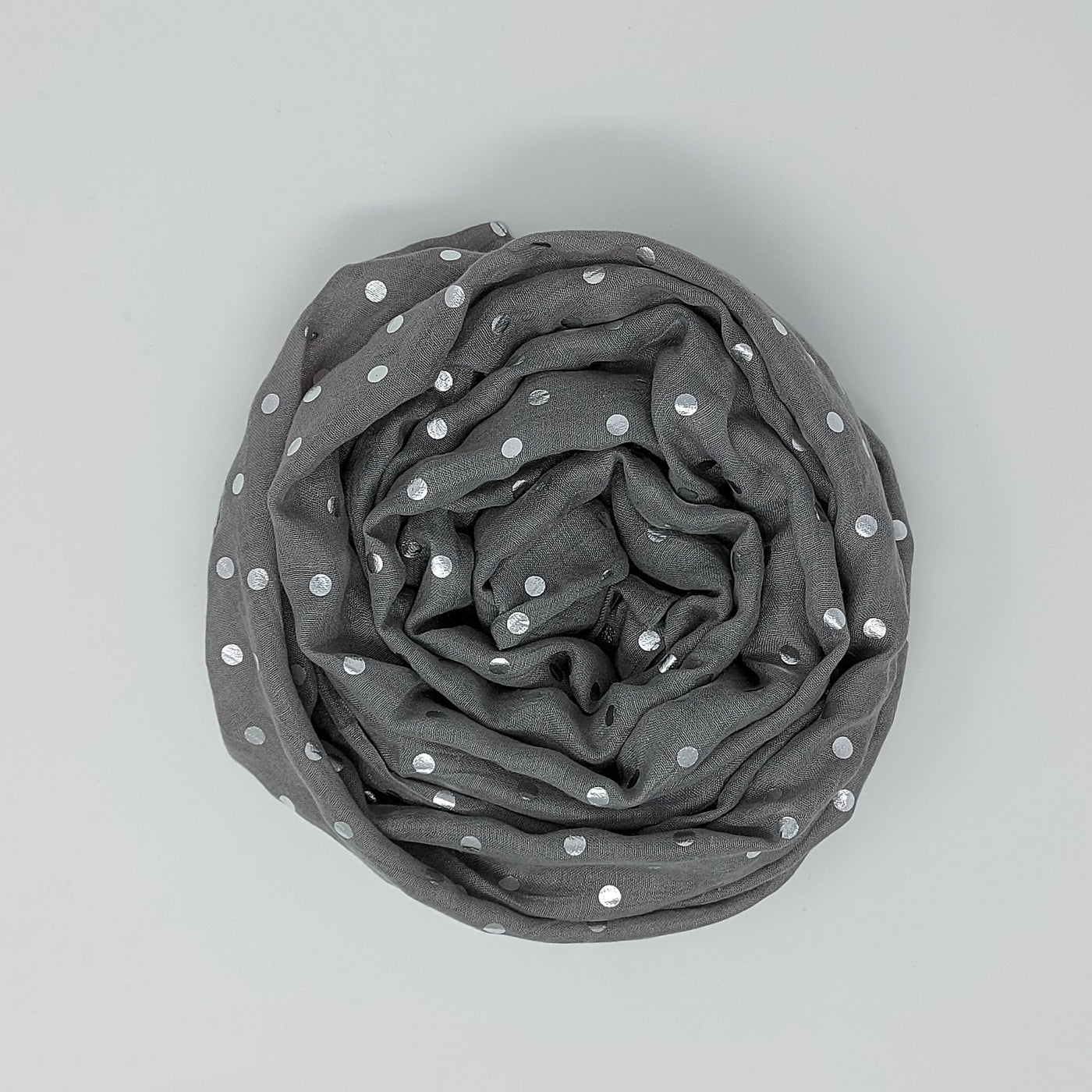 Grey & Silver Polka Dot Lightweight Scarf