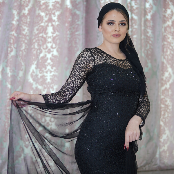 Black evening dress with train