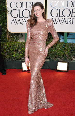 Anne Hathaway Golden Globe Awards - Sequin Evening Dress With Sleeves