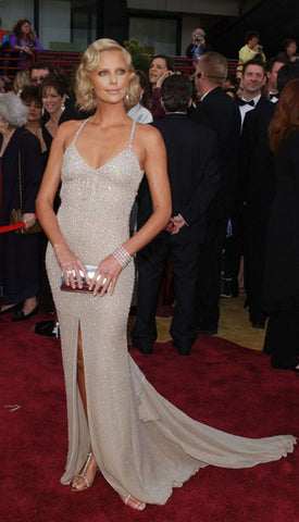 Charlize Theron - Champagne Colour Sequin Dress Oscars 2004