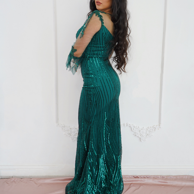 Green sequin maxi dress with sleeves