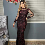 Maroon sequin evening dress with sleeves
