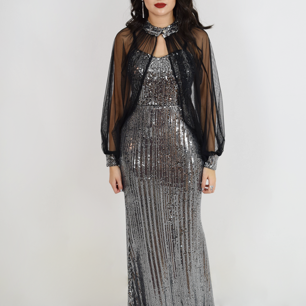 balloon long sleeve sequin dress