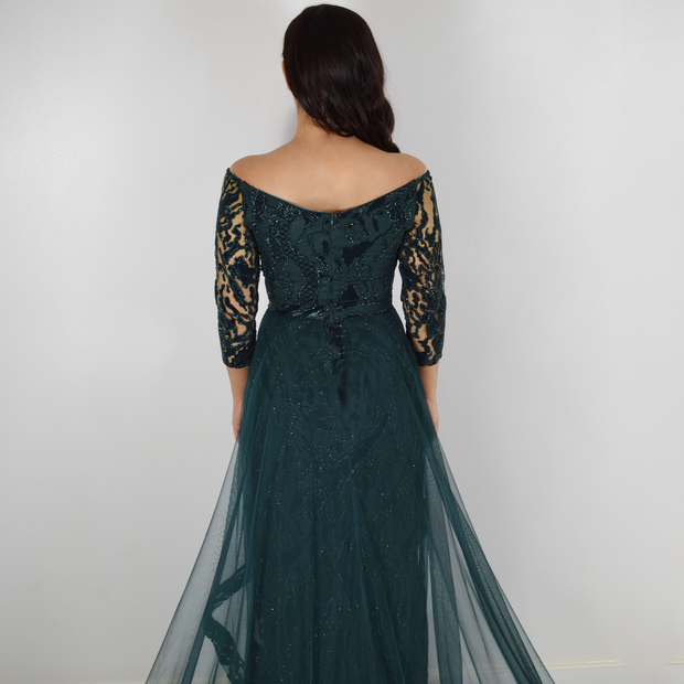 Emerald green trail dress