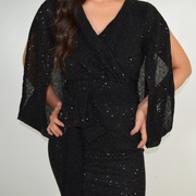 black modest wrap dress