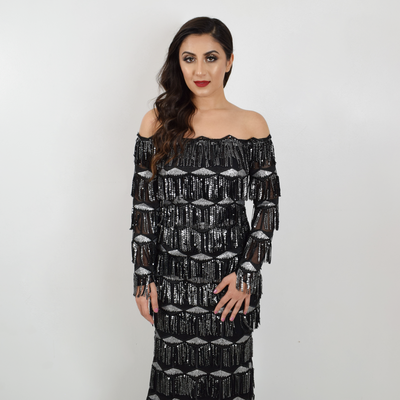 off the shoulder black long fringe dress