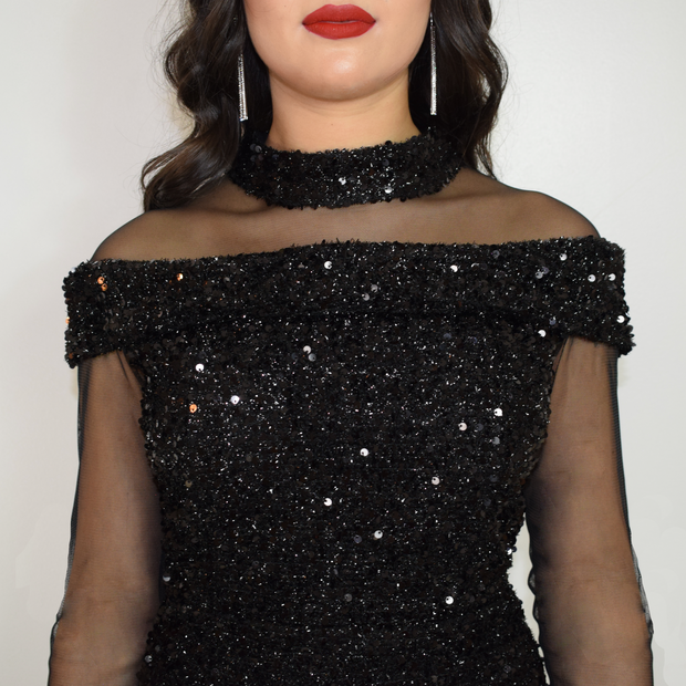 Black bodycon sequin dress with sleeves