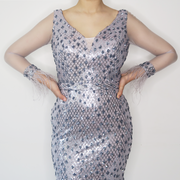Silver Sequin Dress With Long Sleeves