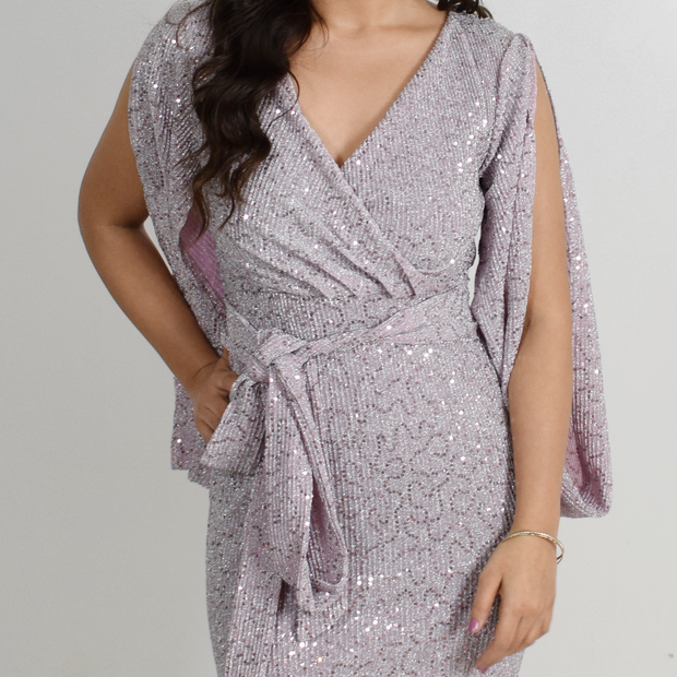 Violet modest wrap dress