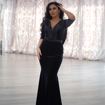Long sleeve black velvet dress