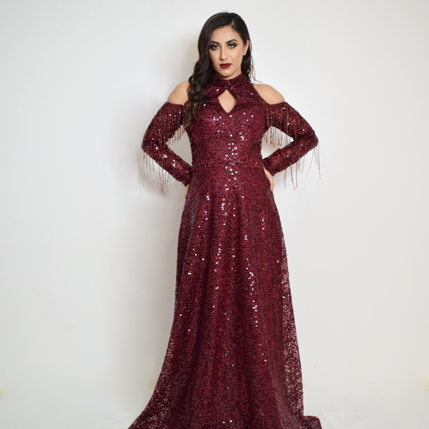 Red sequin cold shoulder long dress with sleeves