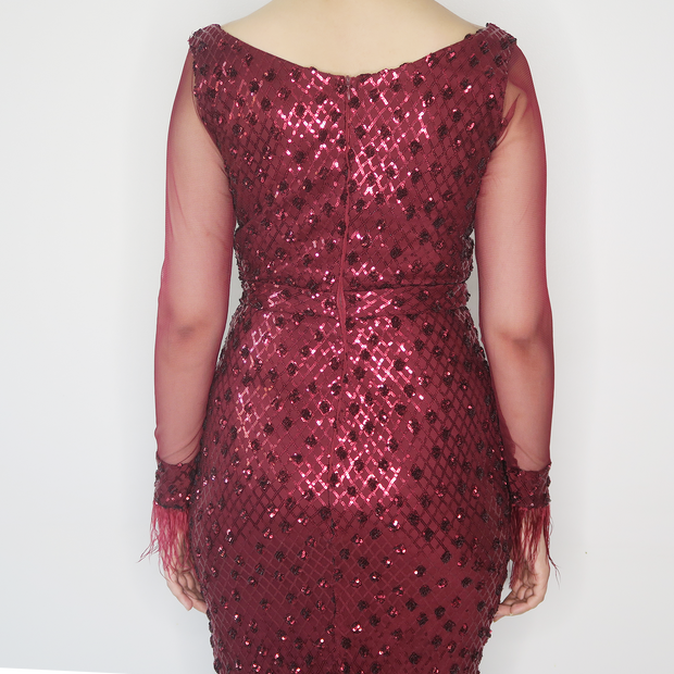 Maroon Long Sleeve Sequin Dress