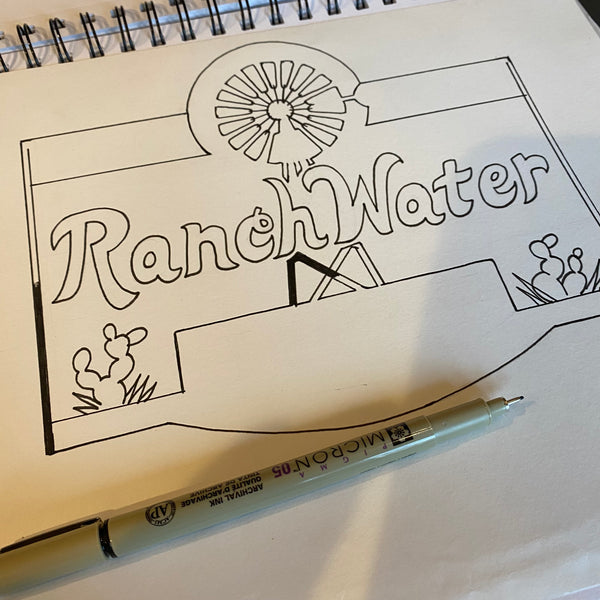 Ranch Water Label Sketch