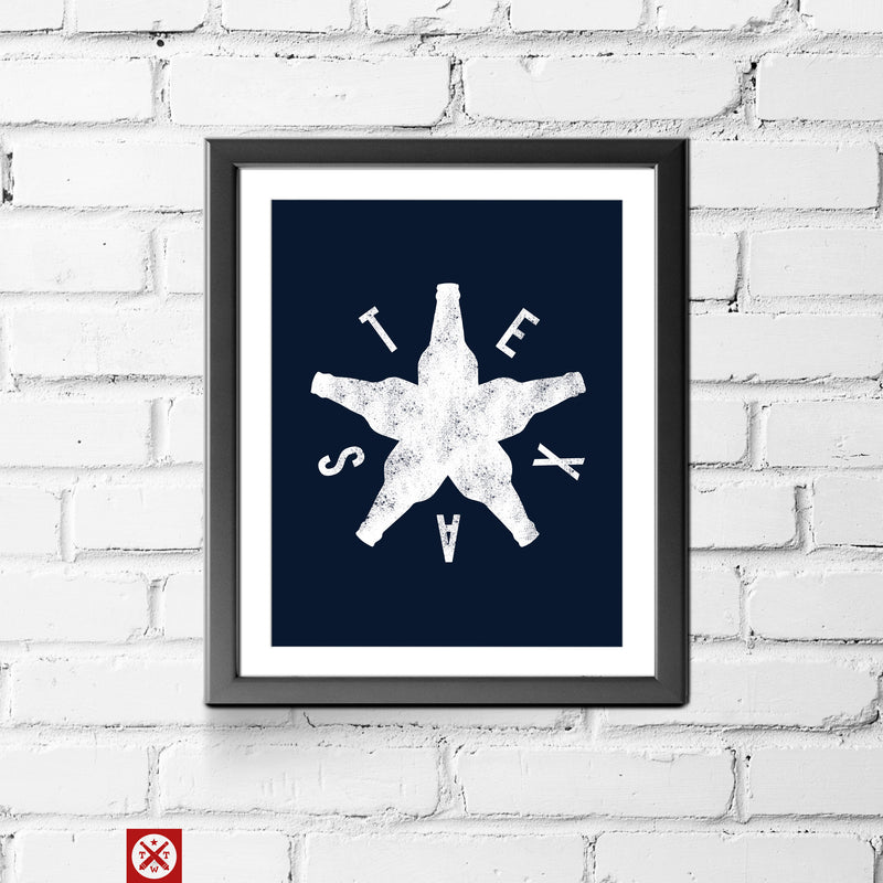 Bottle Star Texas 11 x 14 Print - Tumbleweed TexStyles