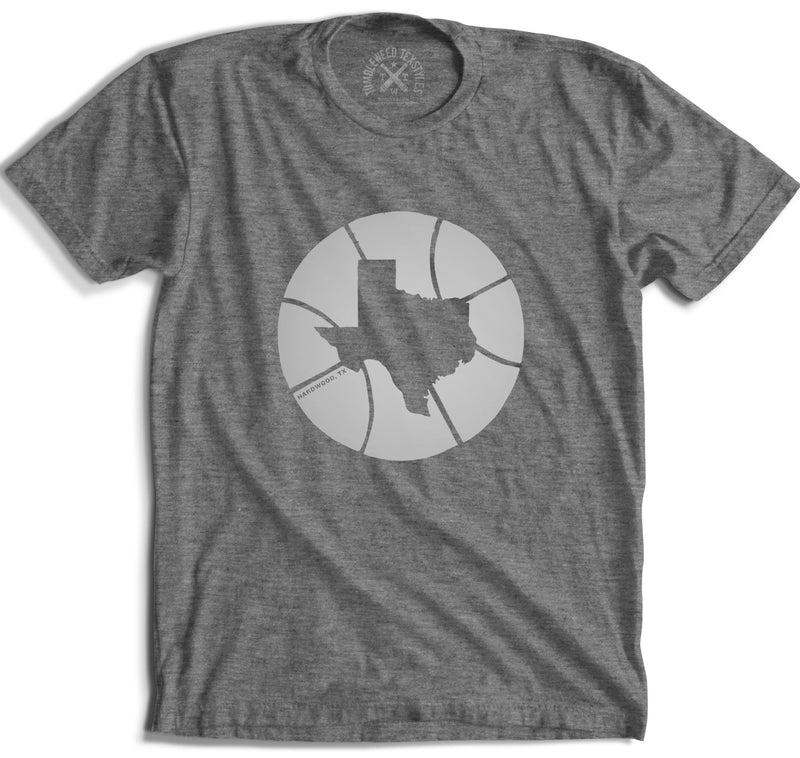 Hardwood, TX - Texas in Basketball T-Shirt (Gray) - Tumbleweed TexStyles