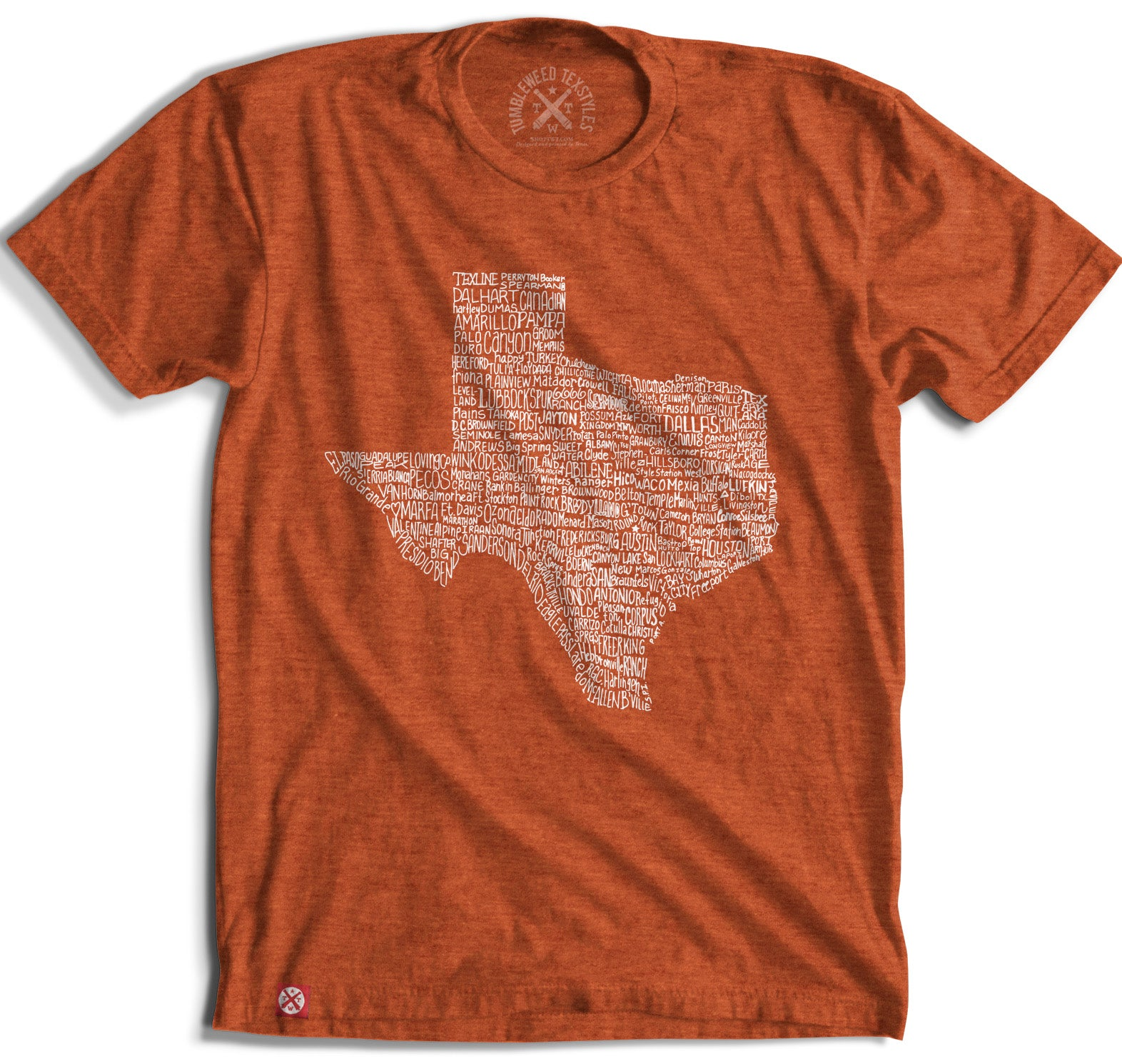 Texas Towns T-shirt (Vintage Orange) - Tumbleweed TexStyles